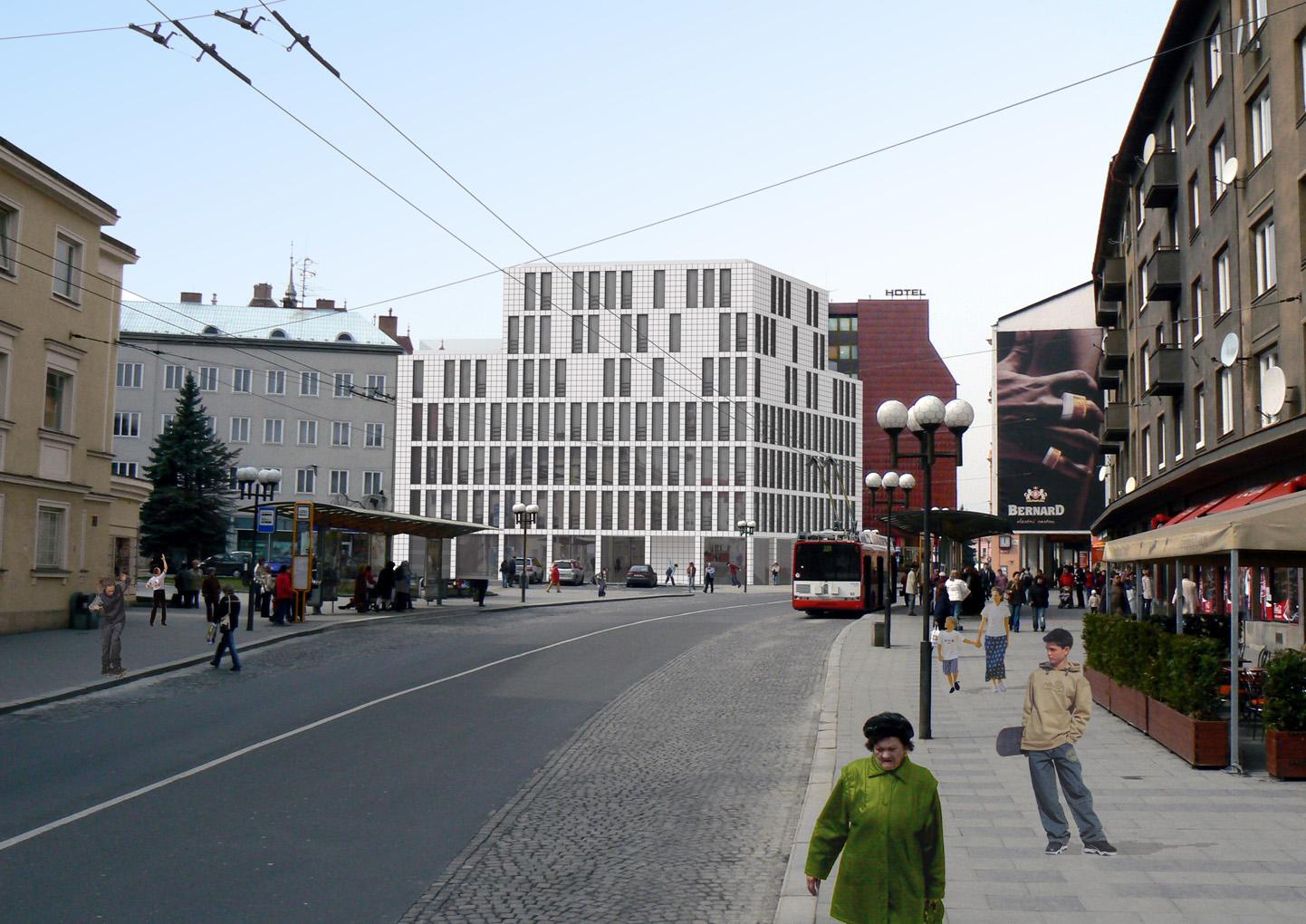 Polyfunkční dům v ose náměstí